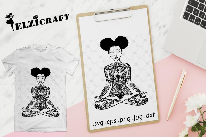 afro-girl-yoga-body-mandala-zentangle-svg-cut-file