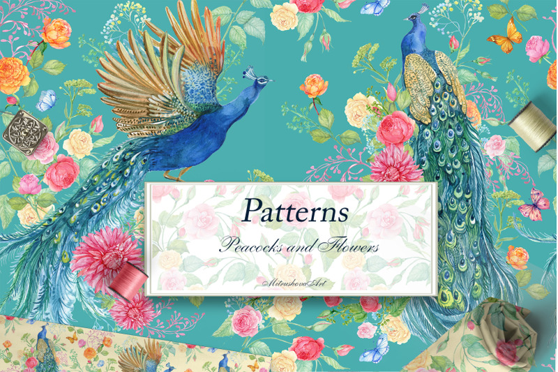 seamless-patterns-peacocks-flower