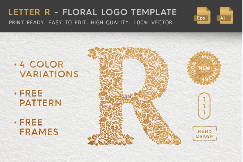 letter-r-floral-logo-template