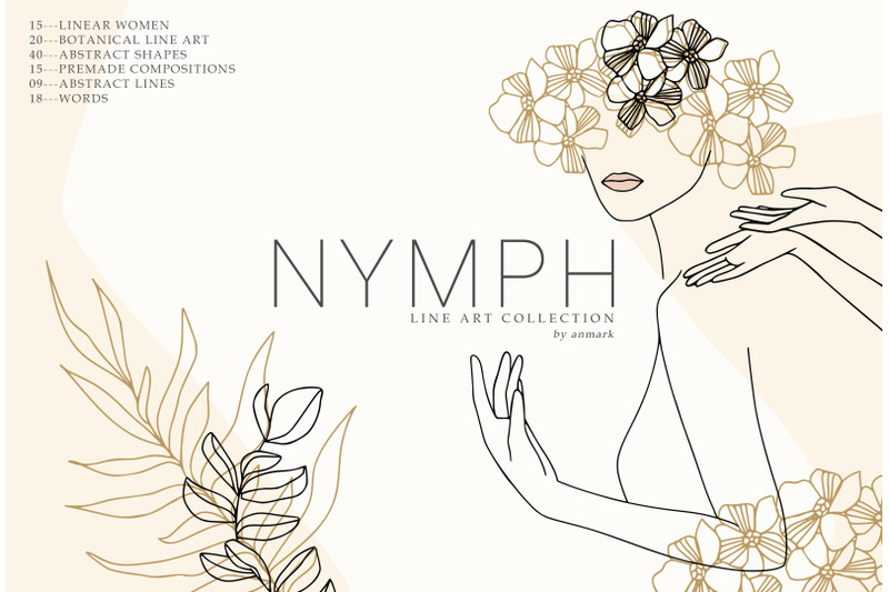nymph-spring-line-art-collection