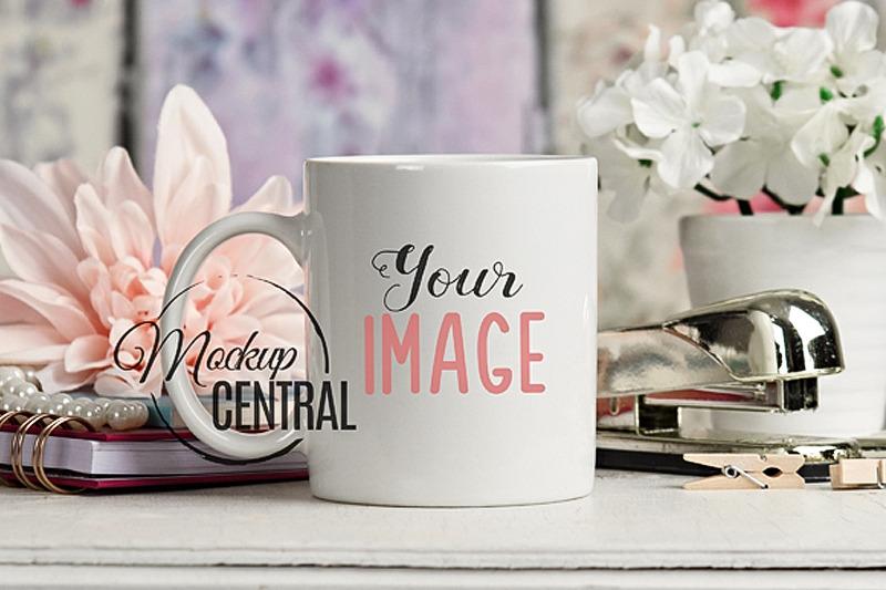 Free Pretty White Coffee Glass Cup Mockup on Table, JPG (PSD Mockups)