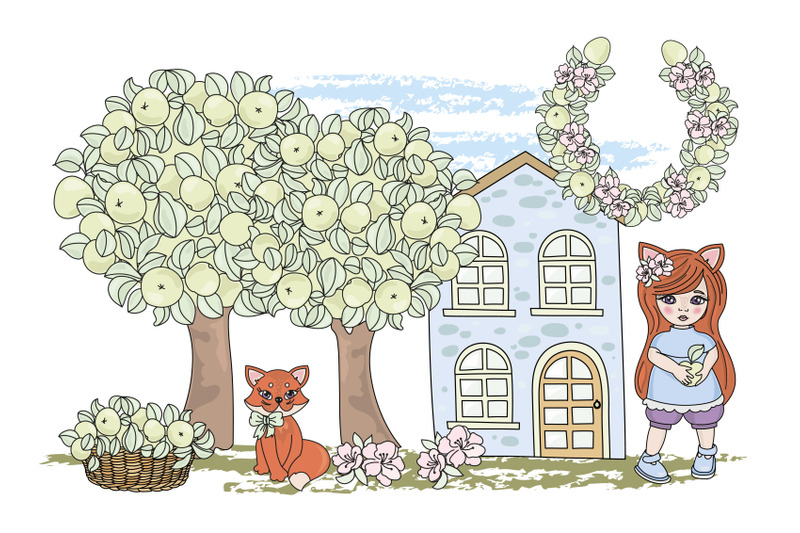 fox-fairy-tale-cartoon-clipart-vector-illustration-set