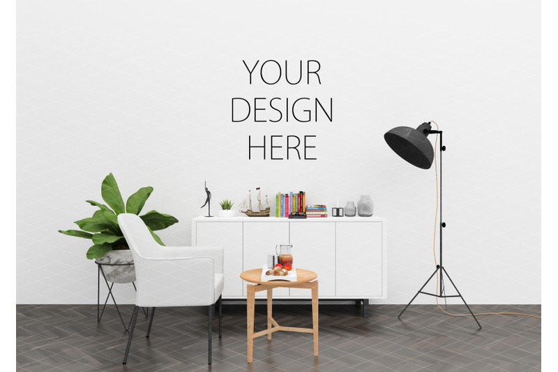 interior-scene-mockup-artwork-background-blank-wall