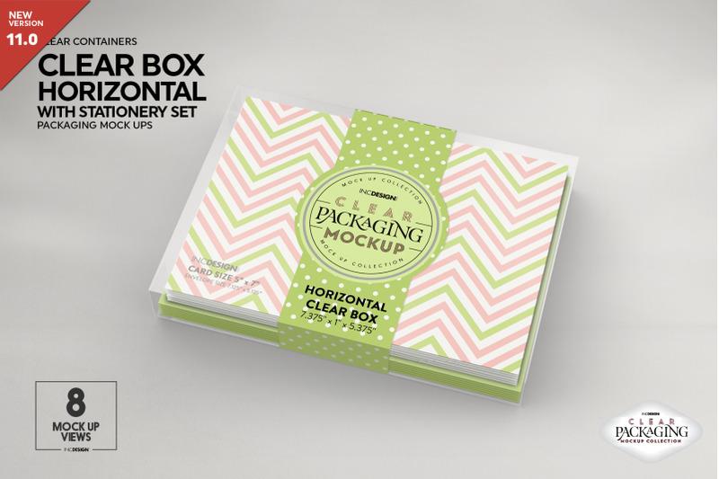 Free Clear Horizontal Box with Stationery Set Mockup (PSD Mockups)