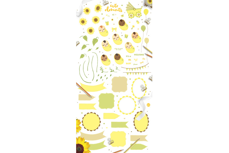 sunflower-baby-shower-cute-clipart-invitation-templates