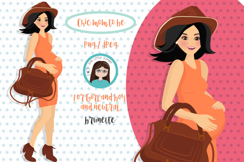 chic-brunette-mom-to-be-clipart