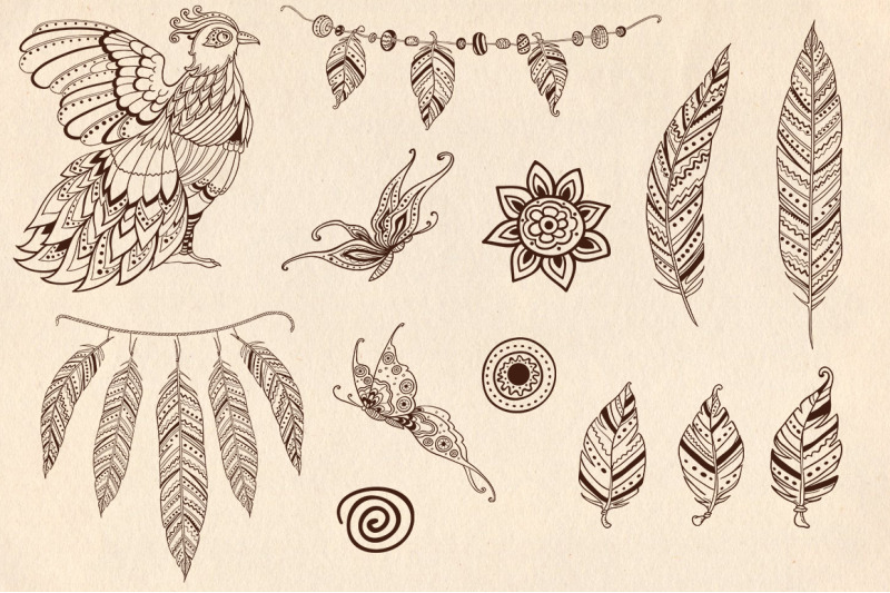 feathers-and-bird-in-ethnic-style