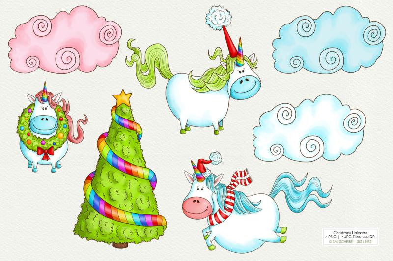 christmas-unicorns-with-clouds-amp-tree