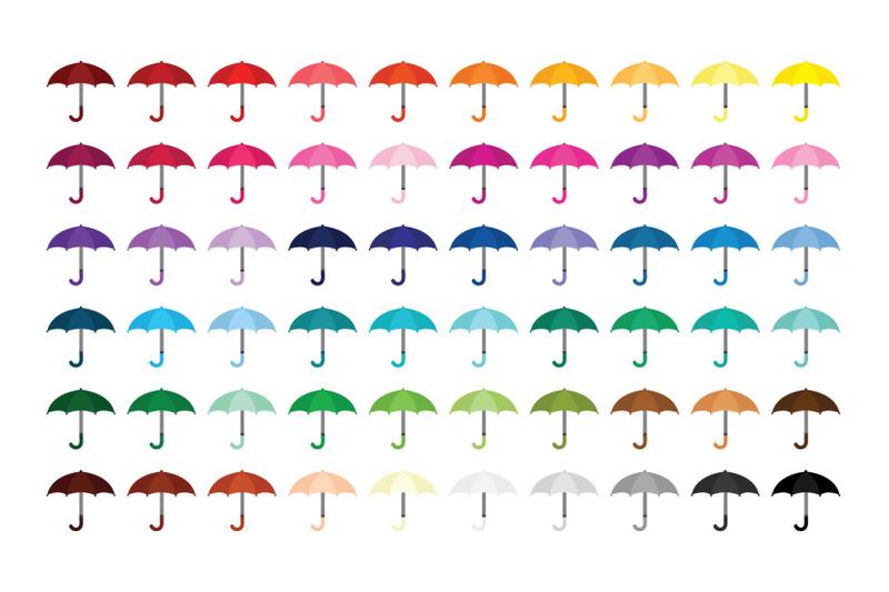 umbrellas-and-raindrops-clip-art-set