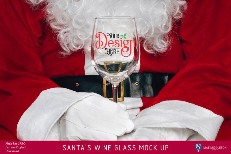 Free Santa's Wine Glass Christmas Mock Up (PSD Mockups)