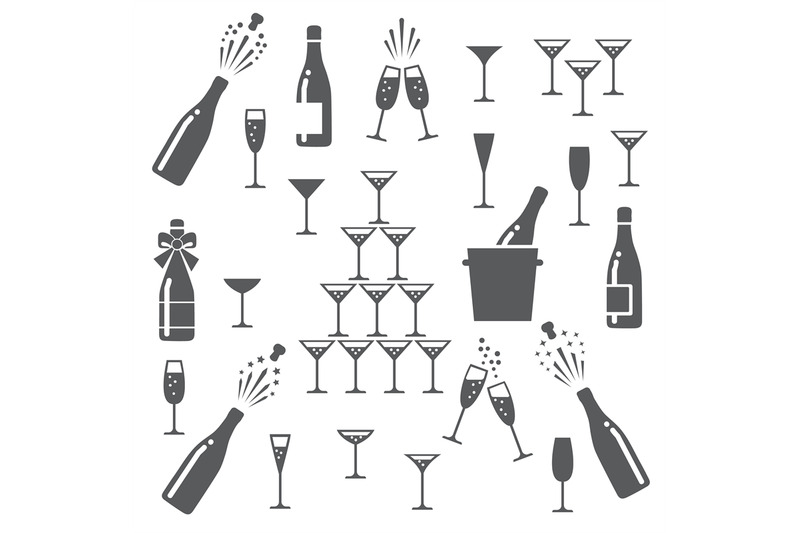 champagne-icons-set