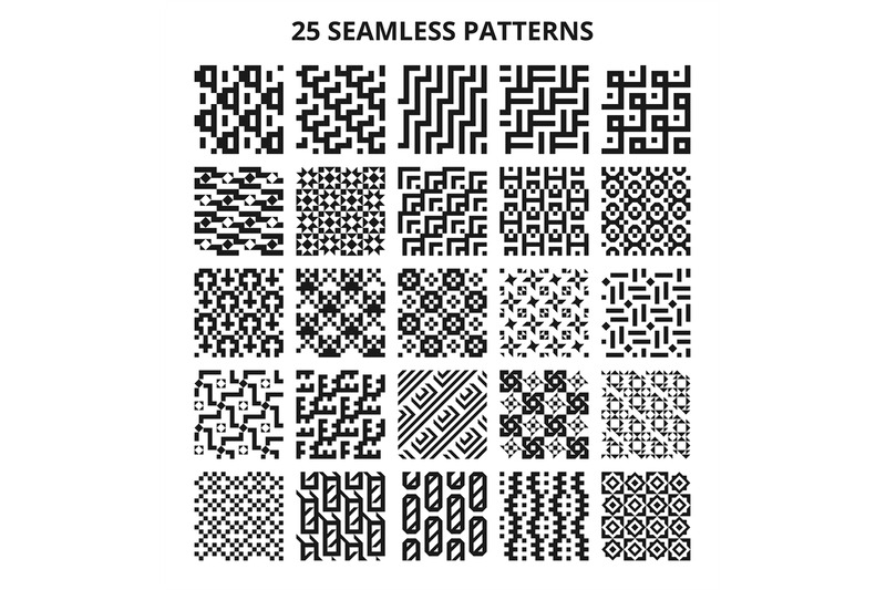monochrome-seamless-geometric-patterns-abstract-fractal-geometrical-l