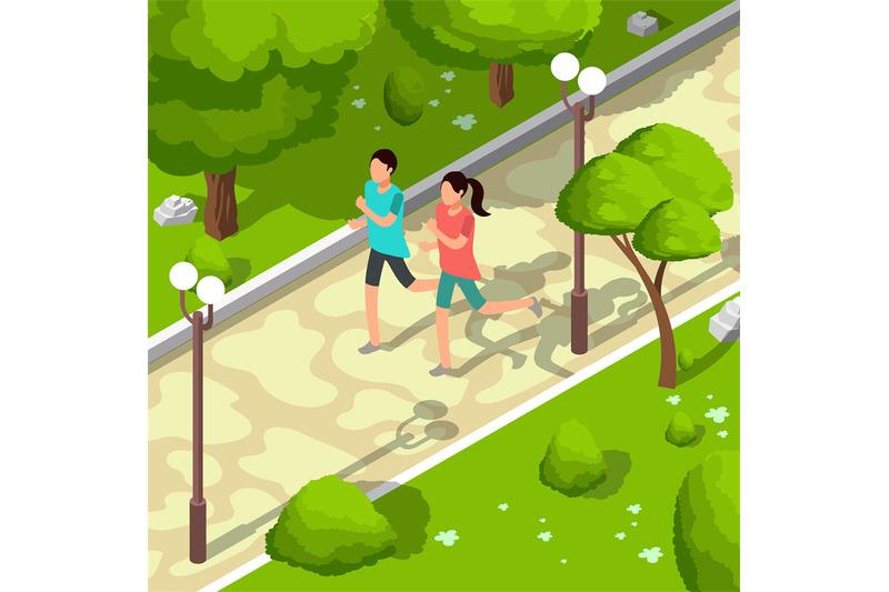 sport-family-running-in-park-vector-isometric-3d-illustration-healthy