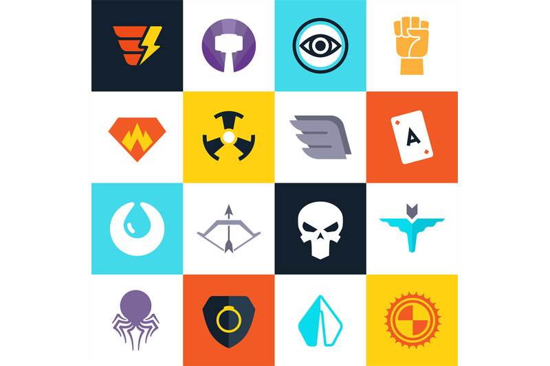 superhero-vector-badges-with-super-weapons-superheroes-symbols-collec