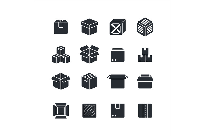 open-and-closed-box-black-silhouette-icons-isolated-package-vector-sy