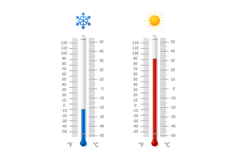 hot-and-cold-weather-temperature-symbols-meteorology-thermometers-wit