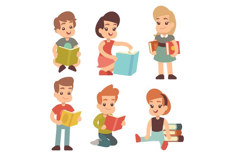 kindergarten-children-read-book-studying-english-vector-cartoon-charac