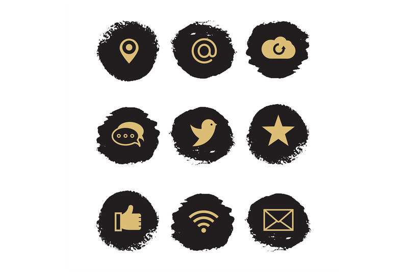 social-media-and-network-grunge-icons