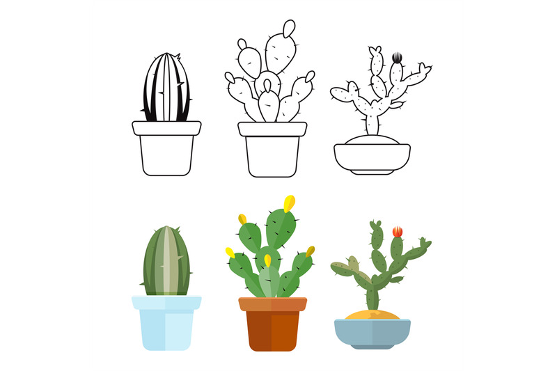 cartoon-and-outline-cactus-set-icons