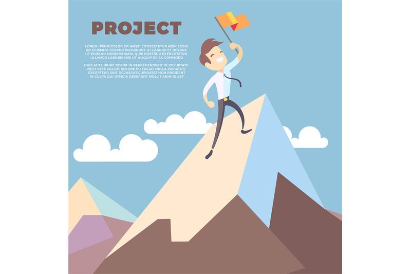 business-man-holding-flag-on-mountain-peak-vector-background