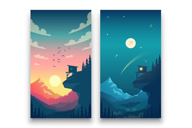 day-and-night-flat-vector-mountain-landscape-with-moon-sun-and-clouds