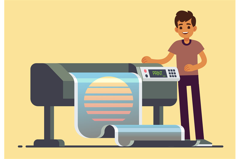 man-worker-at-plotter-printing-wide-format-large-banner-vector-illustr