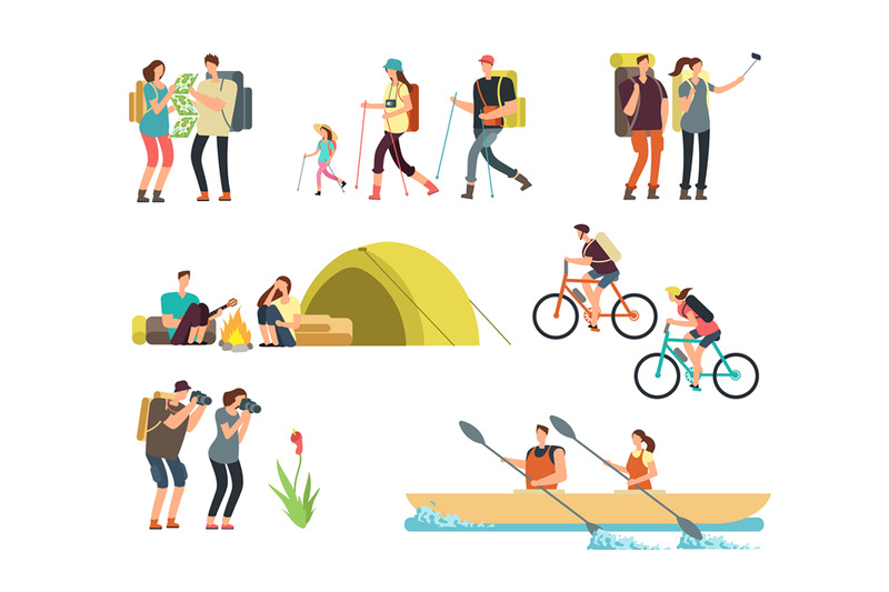 active-people-hikers-cartoon-travelling-family-outdoor-hiking-and-tr