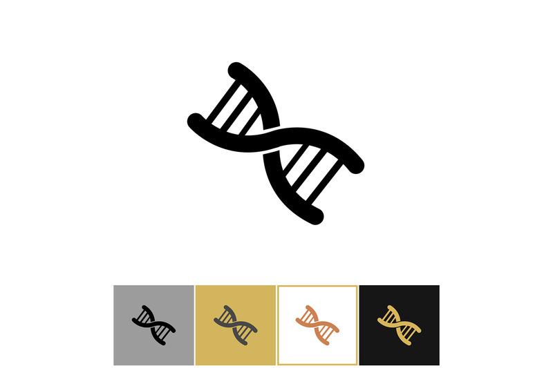 dna-icon-genetics-human-chromosome-symbol-on-gold-and-white-backgroun