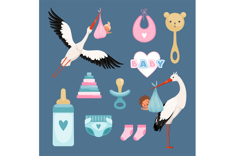 newborn-icons-set-cute-items-for-kids-dresses-flowers-toys-toddler-fl