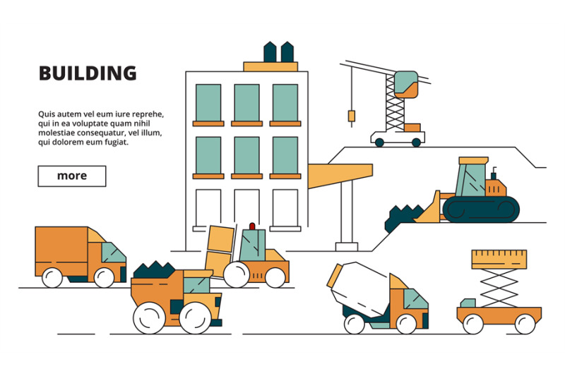 house-construction-heavy-building-machines-linear-background-illustra