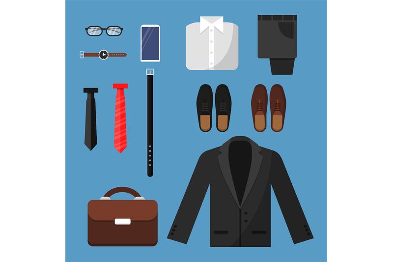 businessman-clothes-fashion-mens-items-pants-shirt-shoes-watches-tie