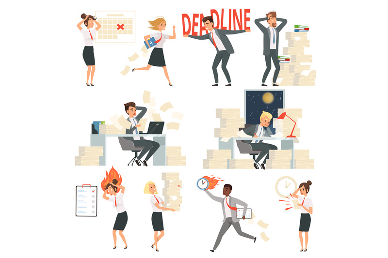 stressed-office-people-overworked-deadline-time-busy-business-manager