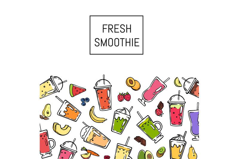 vector-doodle-fresh-smoothie-drink-background-illustration