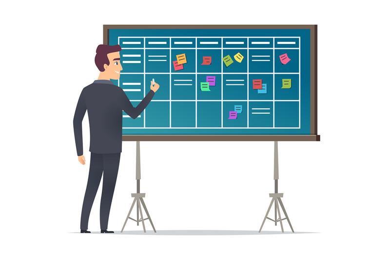 business-schedule-board-businessman-standing-near-checklist-and-plann