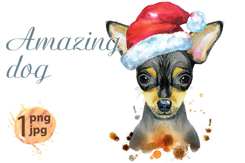 watercolor-portrait-of-toy-terrier-with-santa-hat