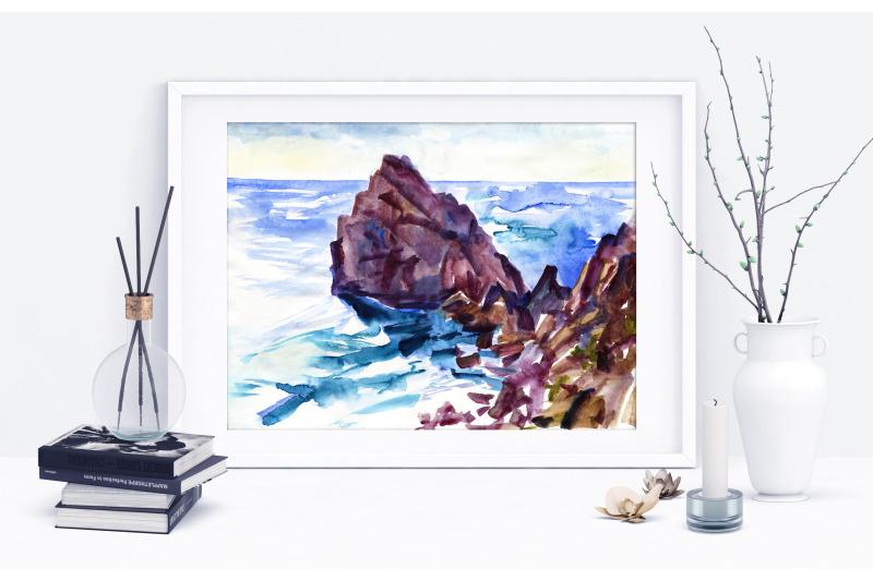 watercolor-sea-and-rocks