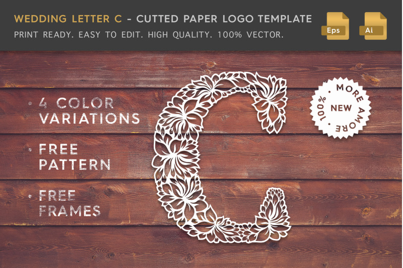 wedding-letter-c-cutted-paper-logo-template
