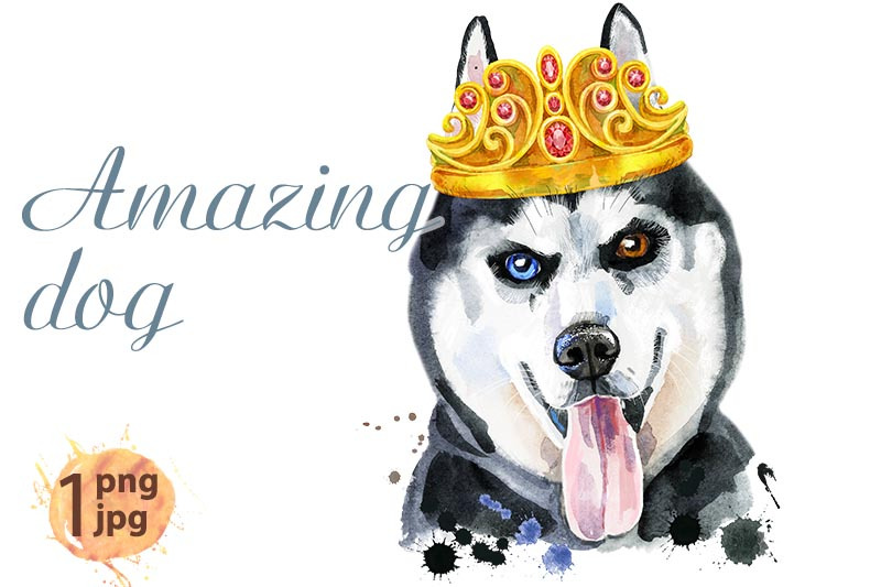 watercolor-portrait-of-husky-with-golden-crown