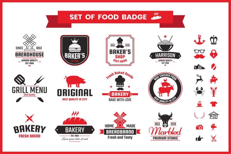 restaurant-badge-amp-objects-vector-set