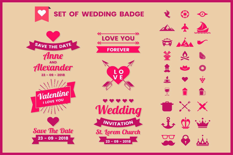 wedding-badge-amp-objects-vector-set