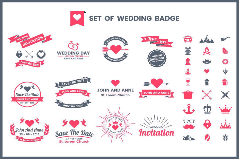 wedding-badge-amp-objects-vector-set