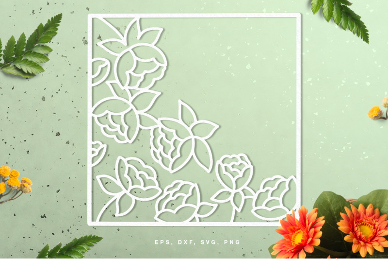 square-floral-frame-cut-file