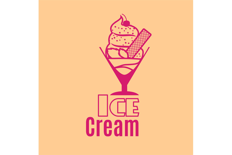 ice-cream-orange-vintage-logo-template