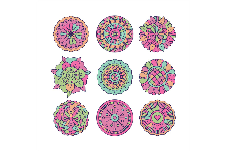 colorful-doodle-round-floral-elements