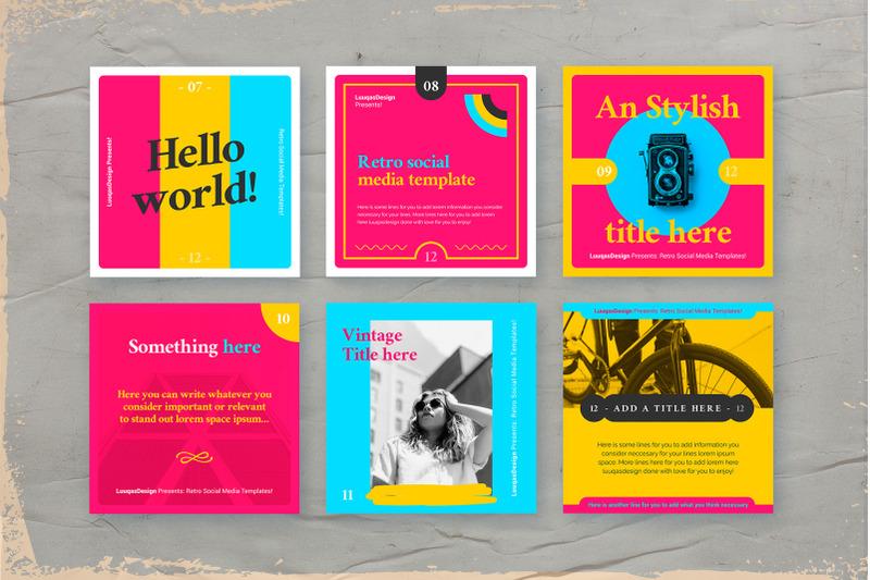 retro-social-media-pack-template