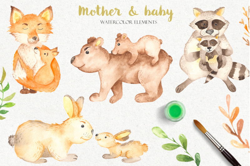 mother-and-baby-animals-watercolor-clipart