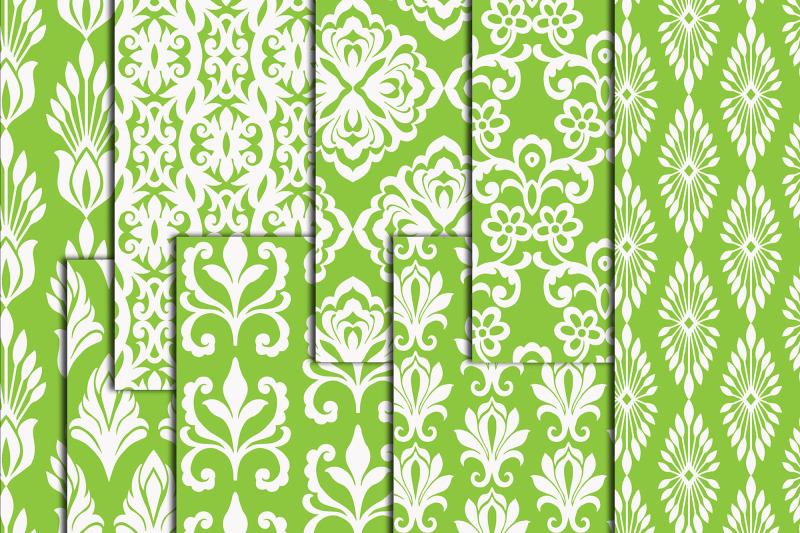 green-damask-digital-paper-damask-pattern-a4-digital-papers