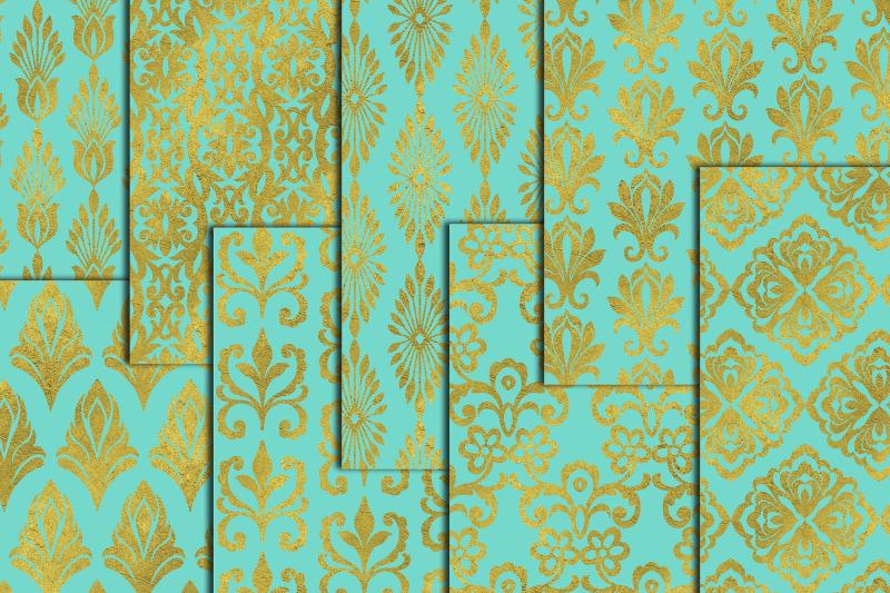 gold-mint-damasks-gold-wedding-paper-mint-gold-papers