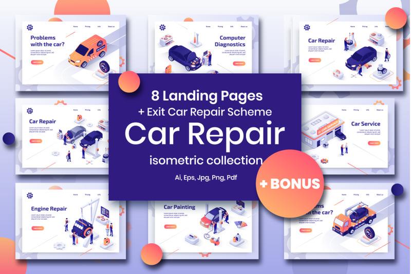 car-repair-set-isometric-design