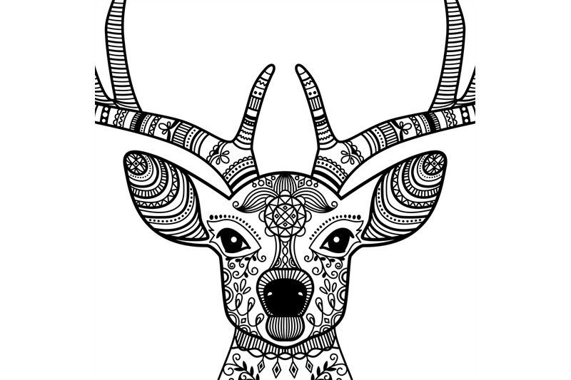 horned-deer-head-with-floral-ornament